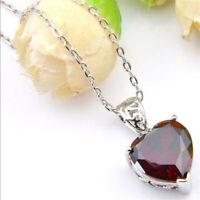Genuine Natural Heart Fire Red Garnet Gemstone Platinum Plated Necklace Pendant