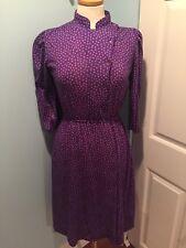 Vintage Dainty Flower Purple  Dress Cotton  Secretary Art School 1980's