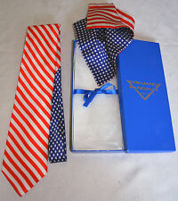 ULTRA-RARE Vitaliano Pancaldi Italy American Flag Silk Tie/Pocket Square Box Set