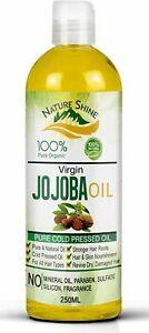 Nature Shine Jojoba Golden Certified Organic Oil 250ml  Moisturises Hair & Skin