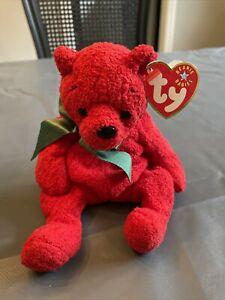 Ty Beanie Babies Mistletoe Red Christmas bear, 2001, PE Pellets, Mint w/ Tag