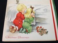 #314 Precious Vintage Christmas Greeting Card Kids Praying Bedside 40S