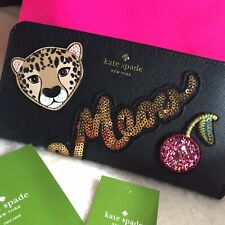 KATE SPADE NEW YORK RUN WILD BLACK LEATHER LEOPARD NEDA WALLET WLRU5004 NWT $229