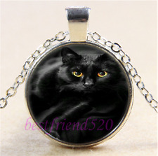 Black Cat Photo Cabochon Glass Tibet Silver Chain Pendant Necklace#A19