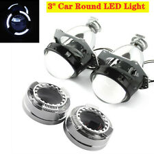 "1Pair 12V 3"" Car Round LED Light Angel Eye Projector Lens Headlight with Cover"