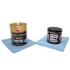 Nevr Dull + 750 ml Chrom Metall Politur Autosol + Mikrofasertuch + Poliertuch