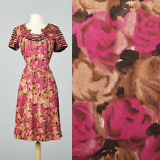 L 1950s Floral Dress Sheer Collar Cocktail Party Formal Evening NYE 50s VTG