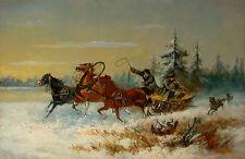 Trojka im Schnee, von Wölfen Verfolgt - Anonym um 1900-20