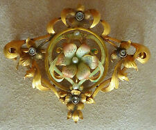 Exquisite Vintage Enamel, 18k. Gold & Diamond Pin- Approx. .18cts.