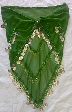Kelly Green Chiffon One Size Belly Dance Coin Wrap Skirt With Silver Coins