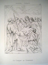 Carracci Compianto Cristo morto acquaforte originale 1868