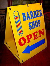 Barber Shop Open With Arrow 2 Sided Sandwich Board Sign Kit New Yellow
