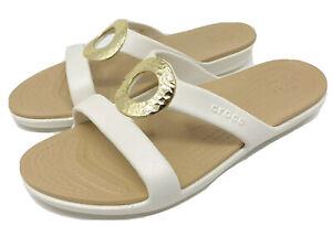 CROCS SANRAH Hammered CIRCLE Slide Sandal SIZE 9 EU 39-40  Oyster/Gold  > NEW