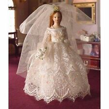DOLLS HOUSE 1/12th SCALE  DOLL BRIDE IN CREAM LACE GOWN