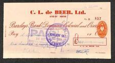 BILL OF EXCHANGE SOUTHERN RHODESIA DE BEER LTD BARCLAYS BANK REVENUE STAMP 1951