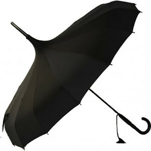 SOAKE Ladies Black Pagoda Oriental Fashion Umbrella Black Tassel & Handle NEW