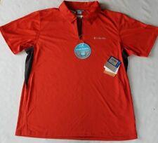 Columbia Polo Shirt Men's Orange M  Stay Cool Coil Freezer Coil UPF 50 Zip $50