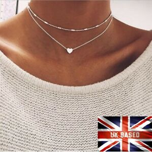 necklace double layer heart chain hot multilayer choker pendant gold / silver UK