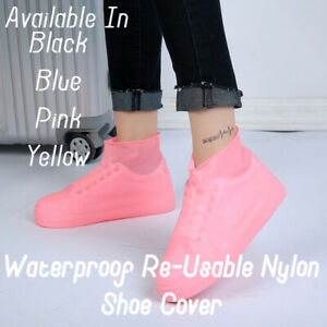 PINK NYLON WATER PROOF, NON-SLIP & RE-USABLE SHOE COVER FOR CYCLING SHOES  LARGE