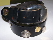 Vintage 1989 Rare Black Leather, Usa Coins Boho Casual Belt Medium Made in Italy