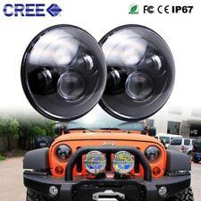 2pcs 7'' H4 90W DOT Black LED Headlights For Jeep Sport Wrangler JK Land Rover