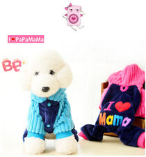 I Love Mama Papa Clothes Pet Cat Dog Sport Jersey Hoodie Winter Warm Costume Top