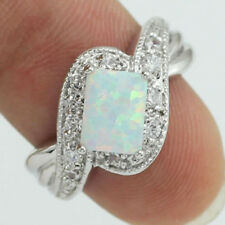 Elegant 925 silver Filled  Rings Fire Opal Square White Gemstones Fancy Sz 6-10