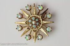 Vintage Large 14K Yellow Gold Opal Star Pin Brooch Pendant Estate
