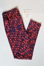 NEW LuLaRoe One Size leggings blue red print pattern NWT OS LLR comfortable soft