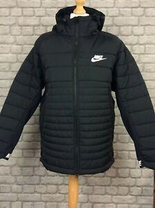 NIKE MENS UK XL BLACK AV15 HYBRID PADDED HOODED COAT JACKET RRP £130 KL