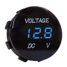 12V 24V Digitale Voltmetro Blu Montaggio a Pannello Tondo Ø28mm per Auto