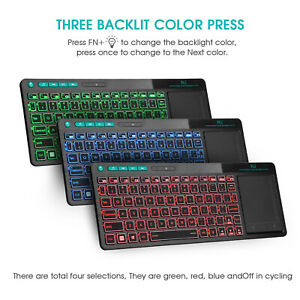 Rii K18+ Red Blue Green Backlit Color Touchpad Wireless Keyboard for PC TV BOX