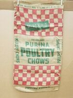 "Vintage PURINA POULTRY CHOWS 50# Feed Seed Burlap Sack Bag Gunny Sack 18"" X 35"""