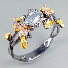 Vintage Natural Blue Topaz 925 Sterling Silver Ring Size 8.5/R108643