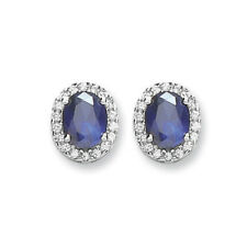Sapphire Earrings Cluster Stud Sterling Silver Studs Rhodium Plated