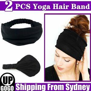 2PCS Yoga Hair Band Head Scarf Wrap Elastic Band Bandana Cap Multi Use Headwrap