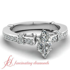 3/4 Carat Marquise Cut Certified Diamond White Gold Engagement Rings For Women