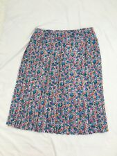 Ladies Mid Calf Pleated Skirt Size 18 Blue Red Green Yellow Floral Flower Print