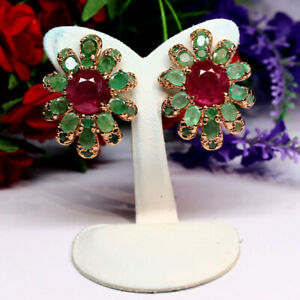 NATURAL 9 X 10 mm. OVAL RED RUBY & GREEN EMERALD EARRINGS 925 STERLING SILVER
