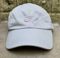 Vintage RARE 90's NIKE Team Swoosh Logo Tan Khaki Pink Strapback Hat Cap