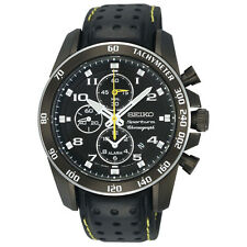 Seiko Sportura SNAE67 Men's Black Leather Strap Alarm Chronograph Sports Watch