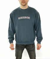 Men's Vintage 90's Reebok Embroidered Spell Out Sweatshirt In Blue Size Medium