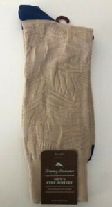 Tommy Bahama Men's Sock One Size Fit All Beige w/ blue Tropical leaf