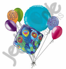 7 pc Colorful Peacock Feathers Themed Balloon Bouquet Bird Birthday Wedding 16