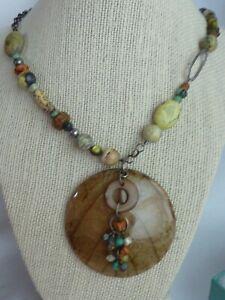 Silpada Kabkaban Wood Leaf Sterling Silver Reversible Green Brown Necklace