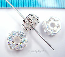 2x BRIGHT STERLING SILVER CZ CRYSTAL RONDELLE ROUND BEAD CAP SPACER 7mm #1309