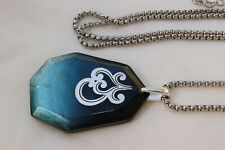 Altered Brighton Shell Shimmer Silver & Resin Pendent Long Chain Necklace