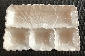 Vintage ~ CALIFORNIA POTTERY ~ 4 Part Glossy White Relish Dip Tray