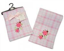 snuggle Baby Fleece Baby Wrap Blanket Pink & White Check Ladybird Design