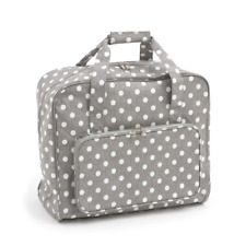 Premium PVC Sewing Machine Carry Bag Storage Case Covers Vinyl Selection Polka Dot Grey Linen Matt 268